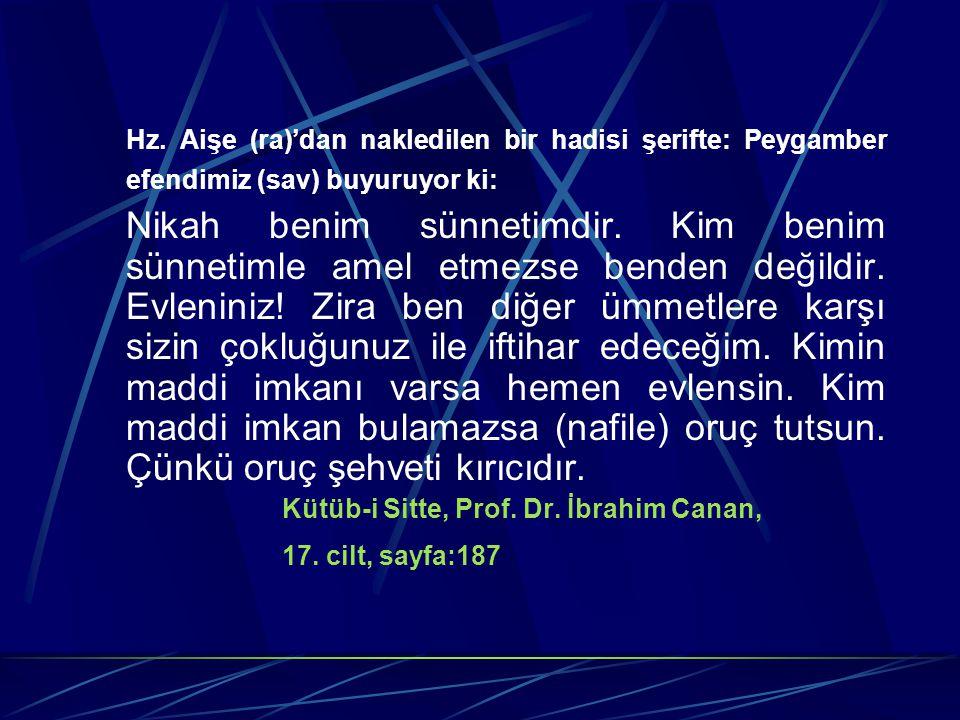 Hz. Aişe (ra)'dan nakledilen bir hadisi şerifte: Peygamber efendimiz (sav) buyuruyor ki: Nikah benim sünnetimdir. Kim benim sünnetimle amel etmezse be