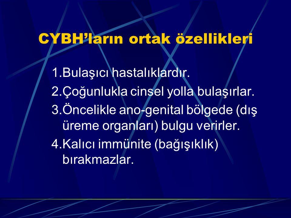 CYBH'ların ortak özellikleri 1.Bulaşıcı hastalıklardır. 2.Çoğunlukla cinsel yolla bulaşırlar. 3.Öncelikle ano-genital bölgede (dış üreme organları) bu