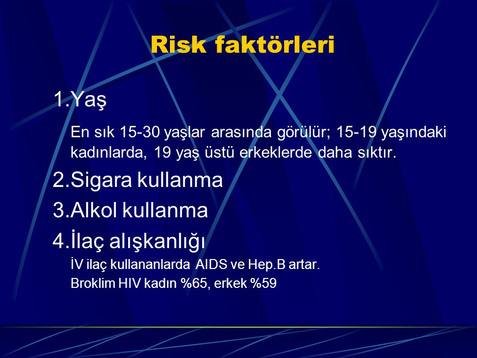 Risk faktörleri 1.Yaş En sık 15-30 yaşlar arasında görülür; 15-19 yaşındaki kadınlarda, 19 yaş üstü erkeklerde daha sıktır. 2.Sigara kullanma 3.Alkol