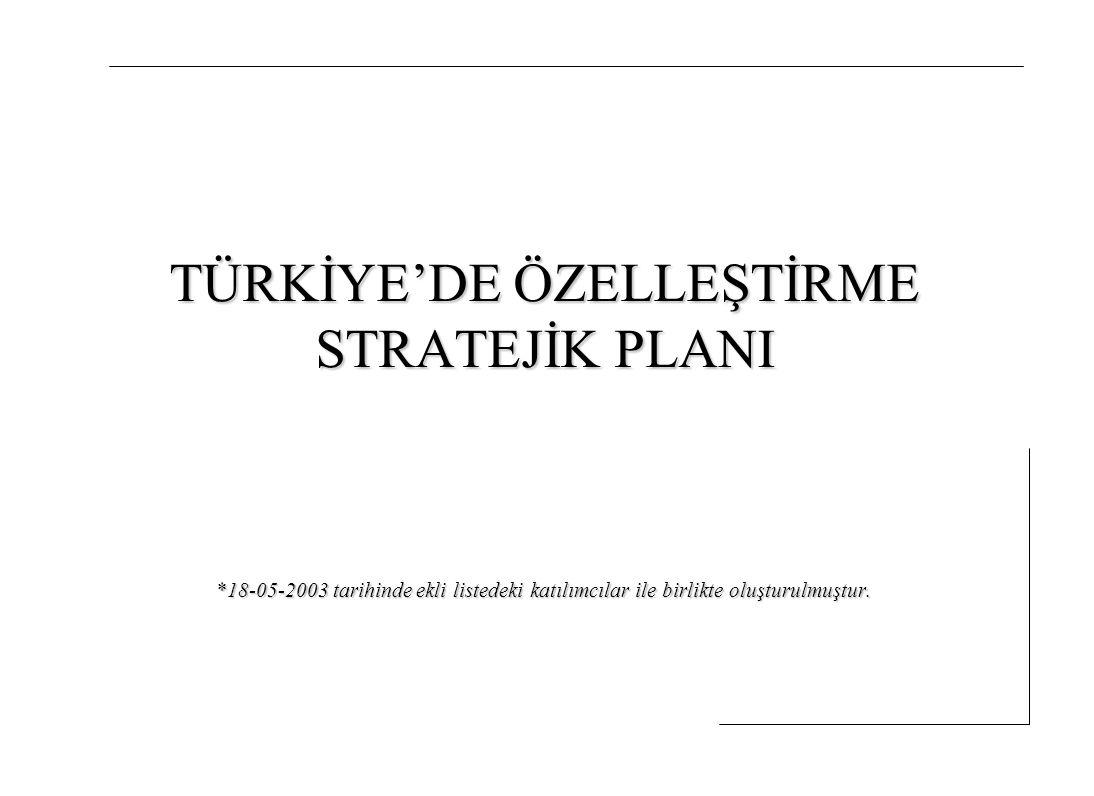 Türkiye'de Özelleştirme Stratejik Planı 11 Vergi oranlarının makul seviyelere indirilmesi ve uluslararası vergi rekabetinde avantajlı konuma geçilmesi Mevzuatın oluşturulması ve uygulanmasında güveni sarsan her türlü istikrarsızlığın önlenmesi Doğrudan büyük yatırımlara özel teşvikler sağlanması Türk muhasebe standartlarının Uluslararası Muhasebe Standartlarına uygun hale getirilerek hem yerli hem yabancı yatırımcıların güvenilir bilgilere erişmelerinin sağlanması (Enflasyon muhasebesine geçilmesi vb.) 6.2.)İç piyasa alıcıları açısından ortamın iyileştirilmesi Bireysel emekliliğin mümkün olan en hızlı şekilde uluslararası kuruluşlar ve Dünya Bankası ile yapılacak çalışmalarla yeniden yapılandırılması Fonlar üzerindeki vergi ve teknik kısıtlamaların(kişi veya grupların fon yönetimi kuruluşları kurmasının önündeki, mevzuattan kaynaklanan engeller) kaldırılması İç piyasadaki kurumsal alıcılar için özelleştirmede taksitlendirme yapılması durumunda ortaya çıkan ve fiiliyatta özelleştirmeyi zorlaştıran mektup uygulamasının kaldırılması