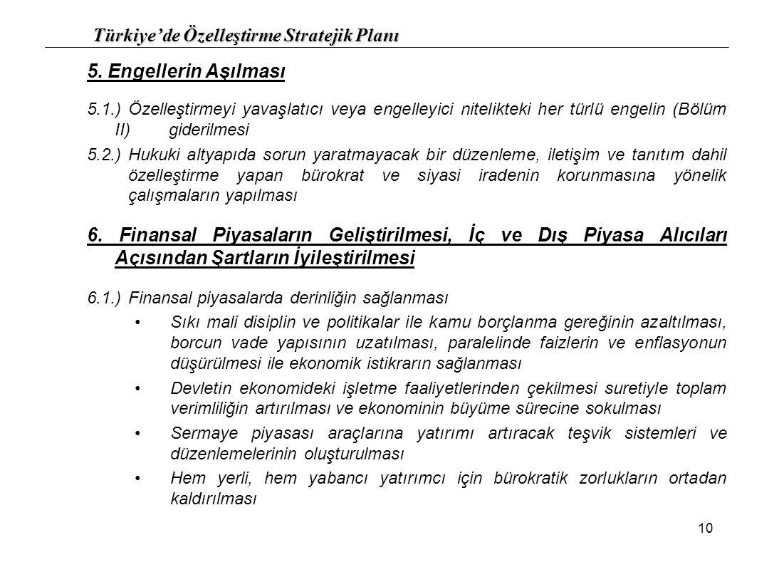 Türkiye'de Özelleştirme Stratejik Planı 10 5. Engellerin Aşılması 5.1.)Özelleştirmeyi yavaşlatıcı veya engelleyici nitelikteki her türlü engelin (Bölü