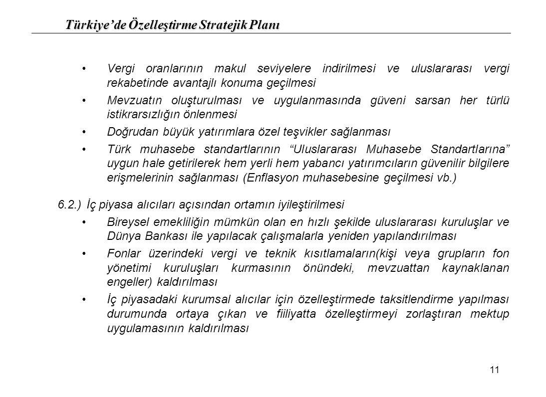 Türkiye'de Özelleştirme Stratejik Planı 11 Vergi oranlarının makul seviyelere indirilmesi ve uluslararası vergi rekabetinde avantajlı konuma geçilmesi