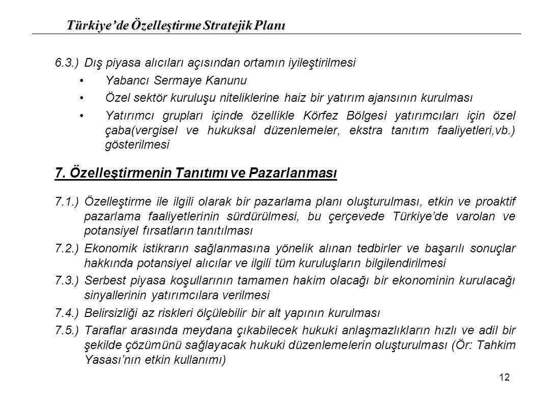 Türkiye'de Özelleştirme Stratejik Planı 12 6.3.)Dış piyasa alıcıları açısından ortamın iyileştirilmesi Yabancı Sermaye Kanunu Özel sektör kuruluşu nit