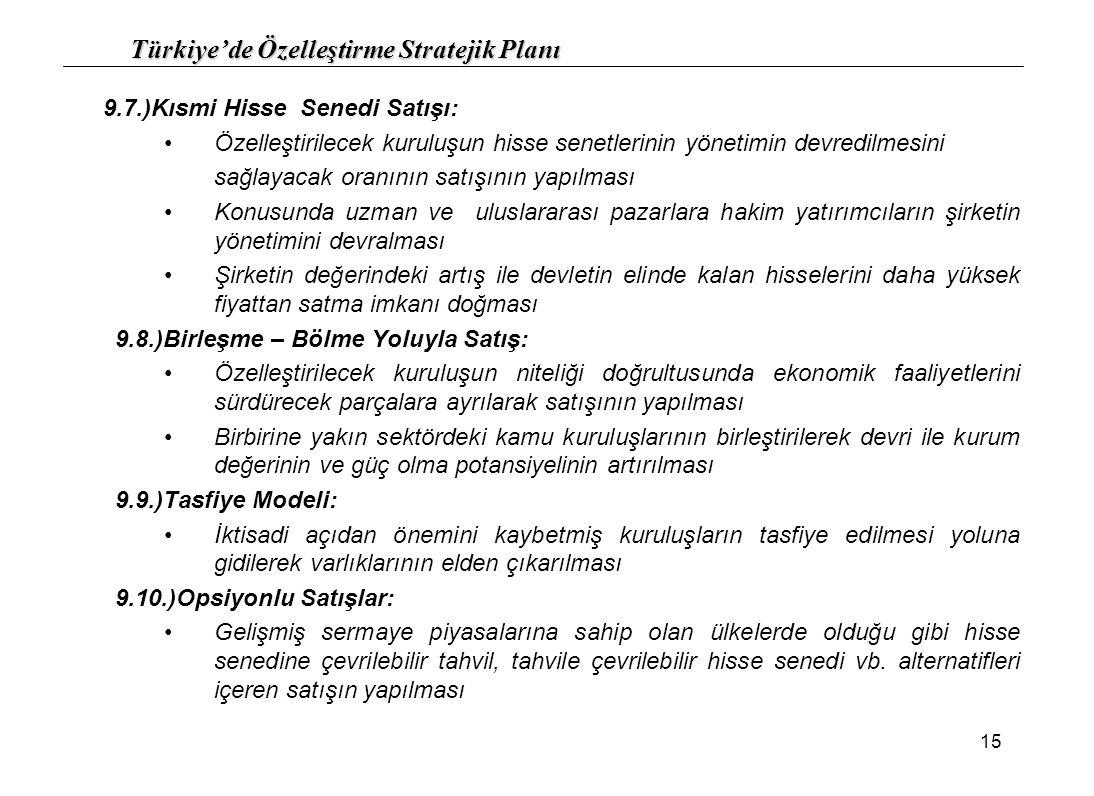 Türkiye'de Özelleştirme Stratejik Planı 15 9.7.)Kısmi Hisse Senedi Satışı: Özelleştirilecek kuruluşun hisse senetlerinin yönetimin devredilmesini sağl