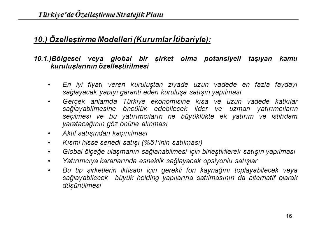 Türkiye'de Özelleştirme Stratejik Planı 16 10.) Özelleştirme Modelleri (Kurumlar İtibariyle): 10.1.)Bölgesel veya global bir şirket olma potansiyeli t
