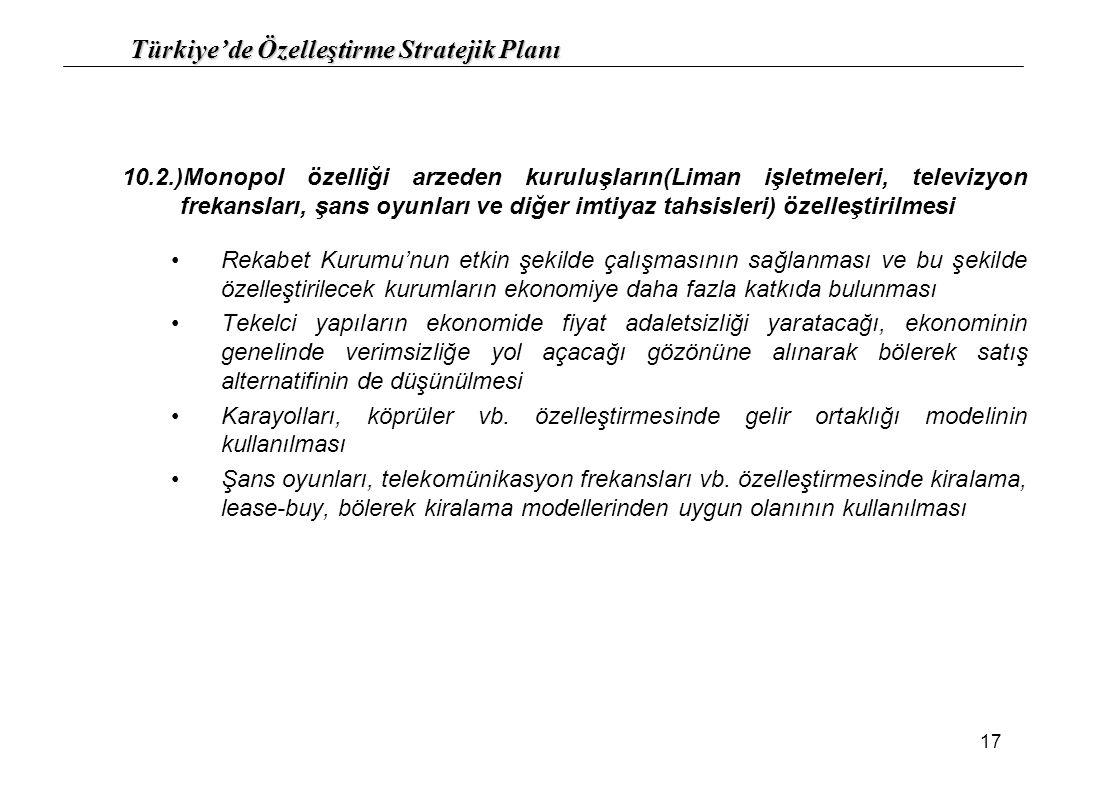 Türkiye'de Özelleştirme Stratejik Planı 17 10.2.)Monopol özelliği arzeden kuruluşların(Liman işletmeleri, televizyon frekansları, şans oyunları ve diğ