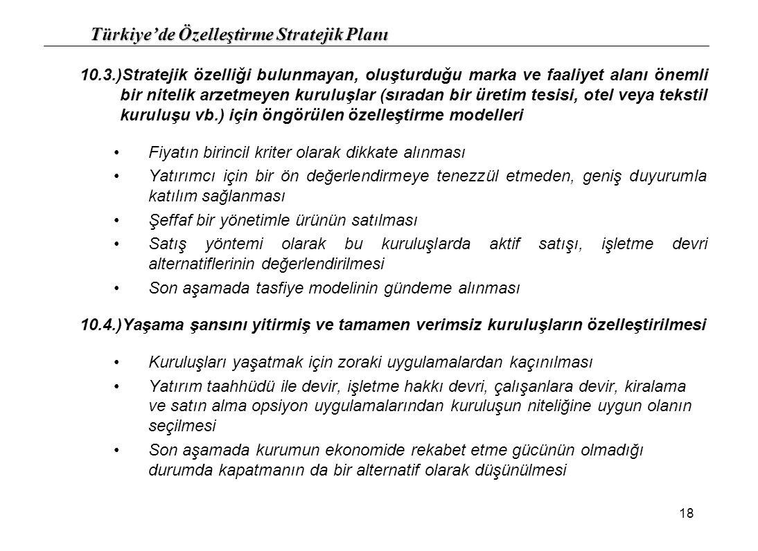 Türkiye'de Özelleştirme Stratejik Planı 18 10.3.)Stratejik özelliği bulunmayan, oluşturduğu marka ve faaliyet alanı önemli bir nitelik arzetmeyen kuru