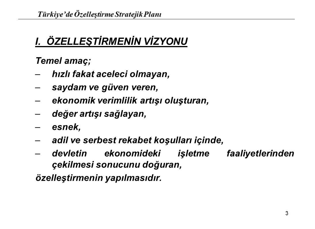 Türkiye'de Özelleştirme Stratejik Planı 14 9.