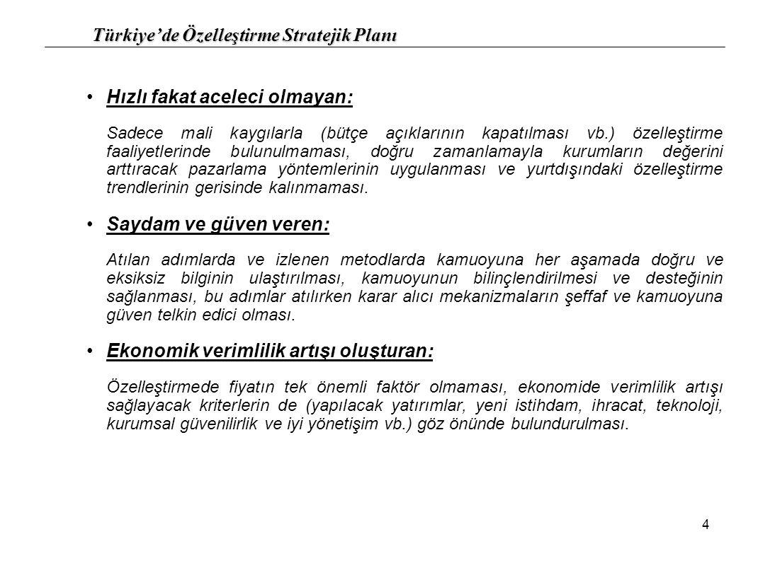 Türkiye'de Özelleştirme Stratejik Planı 15 9.7.)Kısmi Hisse Senedi Satışı: Özelleştirilecek kuruluşun hisse senetlerinin yönetimin devredilmesini sağlayacak oranının satışının yapılması Konusunda uzman ve uluslararası pazarlara hakim yatırımcıların şirketin yönetimini devralması Şirketin değerindeki artış ile devletin elinde kalan hisselerini daha yüksek fiyattan satma imkanı doğması 9.8.)Birleşme – Bölme Yoluyla Satış: Özelleştirilecek kuruluşun niteliği doğrultusunda ekonomik faaliyetlerini sürdürecek parçalara ayrılarak satışının yapılması Birbirine yakın sektördeki kamu kuruluşlarının birleştirilerek devri ile kurum değerinin ve güç olma potansiyelinin artırılması 9.9.)Tasfiye Modeli: İktisadi açıdan önemini kaybetmiş kuruluşların tasfiye edilmesi yoluna gidilerek varlıklarının elden çıkarılması 9.10.)Opsiyonlu Satışlar: Gelişmiş sermaye piyasalarına sahip olan ülkelerde olduğu gibi hisse senedine çevrilebilir tahvil, tahvile çevrilebilir hisse senedi vb.