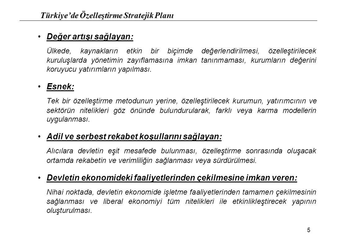 Türkiye'de Özelleştirme Stratejik Planı 16 10.) Özelleştirme Modelleri (Kurumlar İtibariyle): 10.1.)Bölgesel veya global bir şirket olma potansiyeli taşıyan kamu kuruluşlarının özelleştirilmesi En iyi fiyatı veren kuruluştan ziyade uzun vadede en fazla faydayı sağlayacak yapıyı garanti eden kuruluşa satışın yapılması Gerçek anlamda Türkiye ekonomisine kısa ve uzun vadede katkılar sağlayabilmesine öncülük edebilecek lider ve uzman yatırımcıların seçilmesi ve bu yatırımcıların ne büyüklükte ek yatırım ve istihdam yaratacağının göz önüne alınması Aktif satışından kaçınılması Kısmi hisse senedi satışı (%51'inin satılması) Global ölçeğe ulaşmanın sağlanabilmesi için birleştirilerek satışın yapılması Yatırımcıya kararlarında esneklik sağlayacak opsiyonlu satışlar Bu tip şirketlerin iktisabı için gerekli fon kaynağını toplayabilecek veya sağlayabilecek büyük holding yapılarına satılmasının da alternatif olarak düşünülmesi