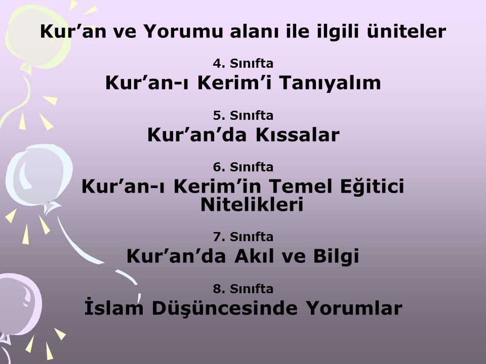 Kur'an ve Yorumu alanı ile ilgili üniteler 4. Sınıfta Kur'an-ı Kerim'i Tanıyalım 5. Sınıfta Kur'an'da Kıssalar 6. Sınıfta Kur'an-ı Kerim'in Temel Eğit