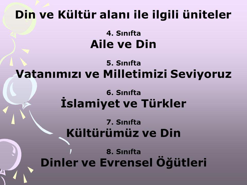 Din ve Kültür alanı ile ilgili üniteler 4. Sınıfta Aile ve Din 5. Sınıfta Vatanımızı ve Milletimizi Seviyoruz 6. Sınıfta İslamiyet ve Türkler 7. Sınıf