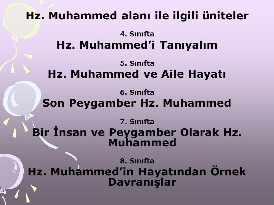 Hz. Muhammed alanı ile ilgili üniteler 4. Sınıfta Hz. Muhammed'i Tanıyalım 5. Sınıfta Hz. Muhammed ve Aile Hayatı 6. Sınıfta Son Peygamber Hz. Muhamme