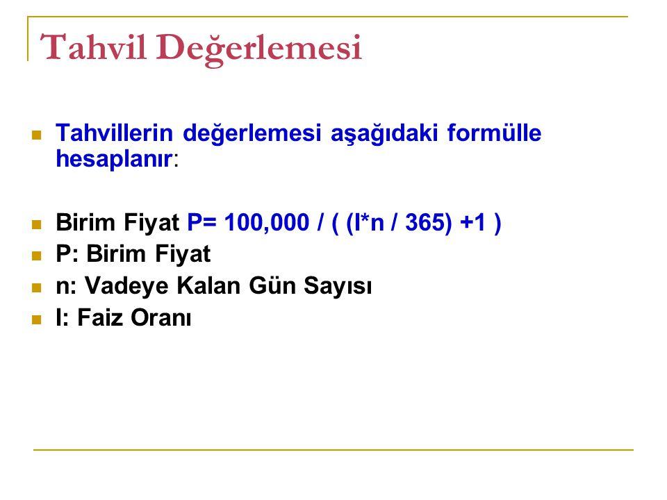 Tahvil Değerlemesi Tahvillerin değerlemesi aşağıdaki formülle hesaplanır: Birim Fiyat P= 100,000 / ( (I*n / 365) +1 ) P: Birim Fiyat n: Vadeye Kalan G