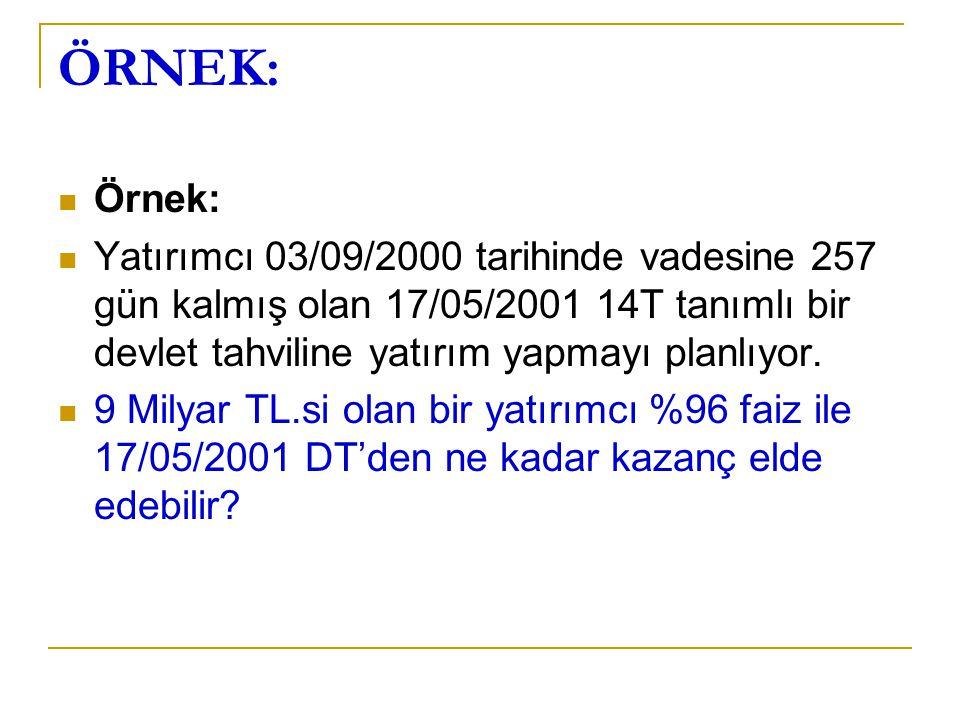 ÖRNEK: Örnek: Yatırımcı 03/09/2000 tarihinde vadesine 257 gün kalmış olan 17/05/2001 14T tanımlı bir devlet tahviline yatırım yapmayı planlıyor. 9 Mil