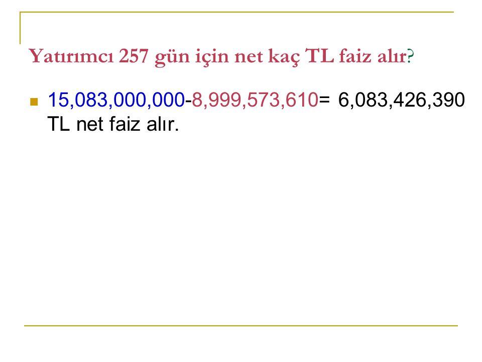 Yatırımcı 257 gün için net kaç TL faiz alır? 15,083,000,000-8,999,573,610= 6,083,426,390 TL net faiz alır.