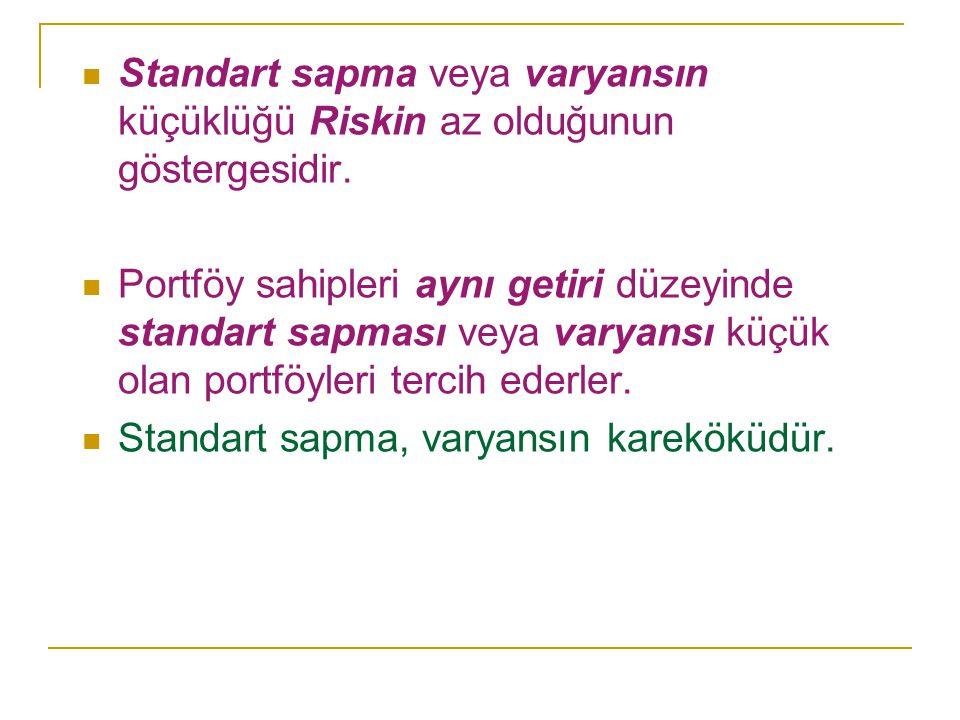 Standart sapma veya varyansın küçüklüğü Riskin az olduğunun göstergesidir. Portföy sahipleri aynı getiri düzeyinde standart sapması veya varyansı küçü