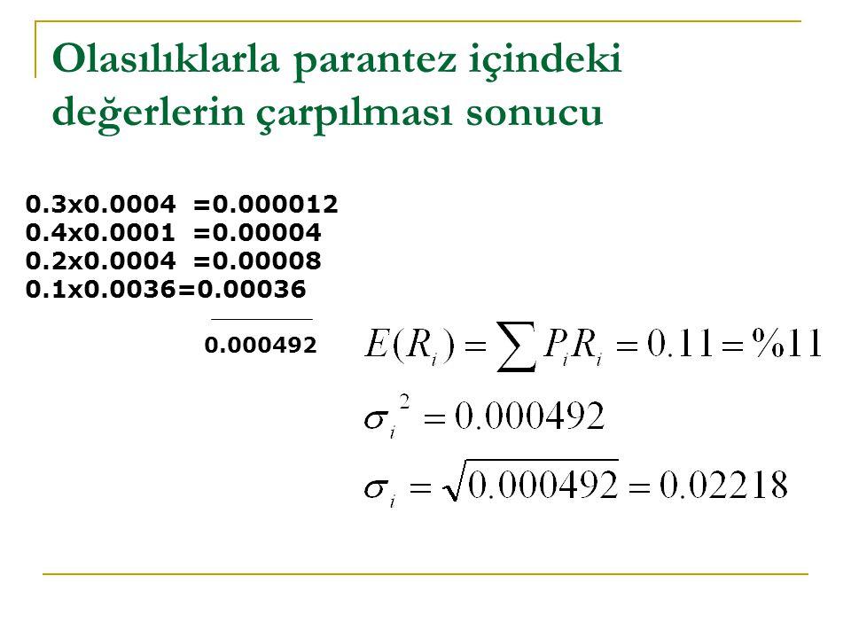 Olasılıklarla parantez içindeki değerlerin çarpılması sonucu 0.3x0.0004 =0.000012 0.4x0.0001 =0.00004 0.2x0.0004 =0.00008 0.1x0.0036=0.00036 0.000492