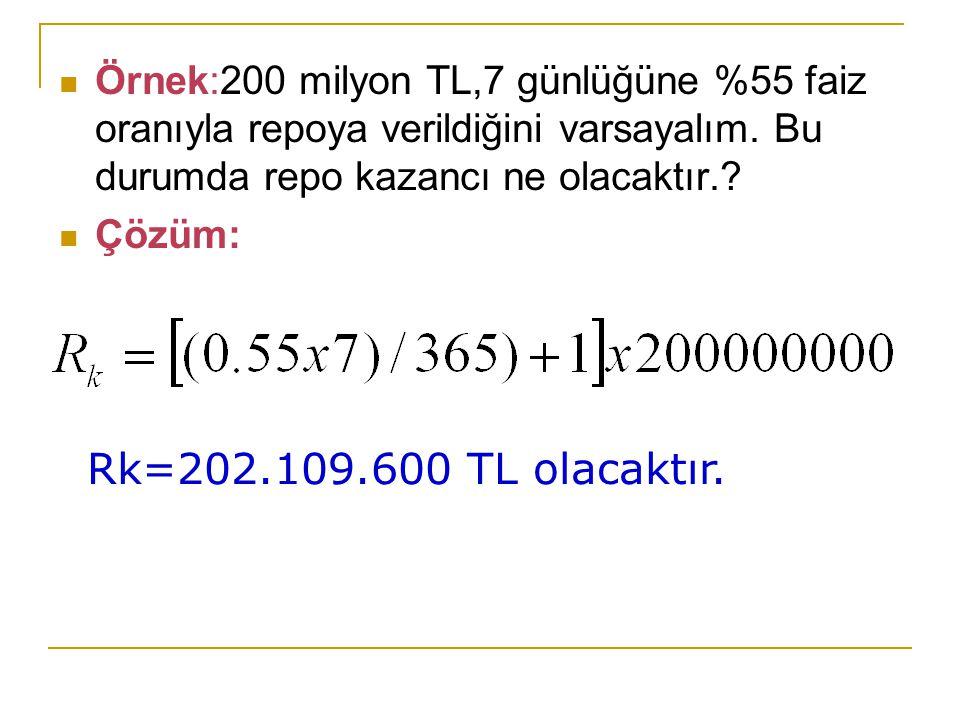 Örnek:200 milyon TL,7 günlüğüne %55 faiz oranıyla repoya verildiğini varsayalım. Bu durumda repo kazancı ne olacaktır.? Çözüm: Rk=202.109.600 TL olaca