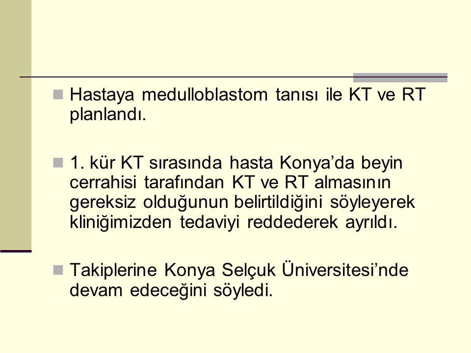 Hastaya medulloblastom tanısı ile KT ve RT planlandı. 1. kür KT sırasında hasta Konya'da beyin cerrahisi tarafından KT ve RT almasının gereksiz olduğu
