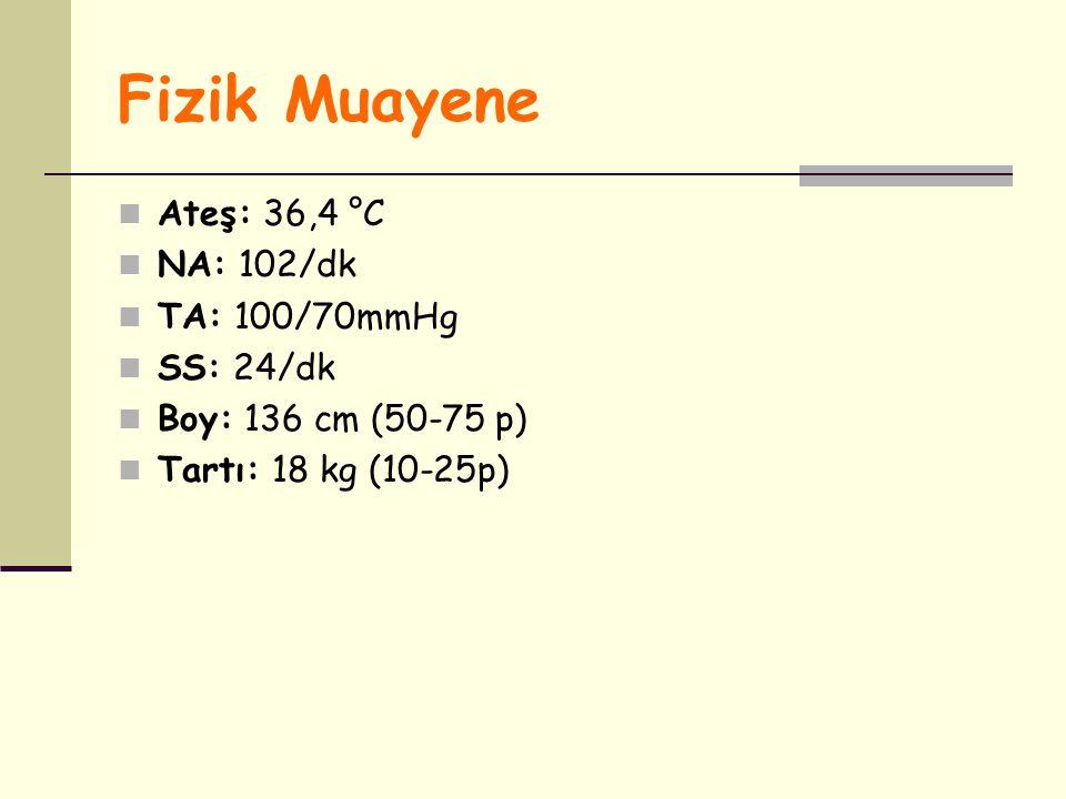 Fizik Muayene Ateş: 36,4 °C NA: 102/dk TA: 100/70mmHg SS: 24/dk Boy: 136 cm (50-75 p) Tartı: 18 kg (10-25p)