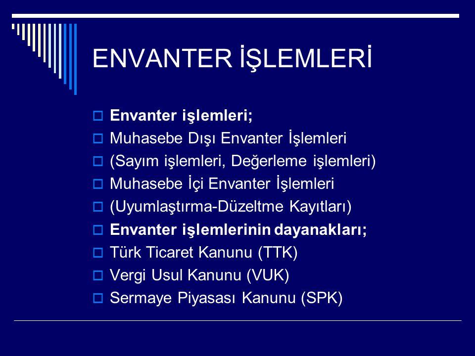 ENVANTER İŞLEMLERİ  Envanter işlemleri;  Muhasebe Dışı Envanter İşlemleri  (Sayım işlemleri, Değerleme işlemleri)  Muhasebe İçi Envanter İşlemleri