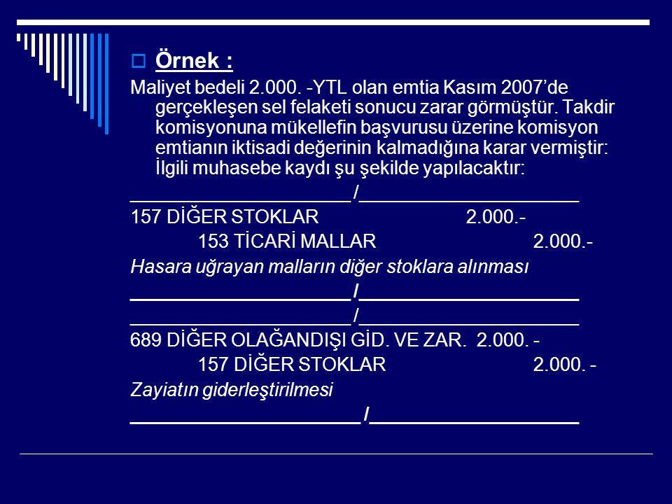 Örnek : Maliyet bedeli 2.000. -YTL olan emtia Kasım 2007'de gerçekleşen sel felaketi sonucu zarar görmüştür. Takdir komisyonuna mükellefin başvurusu