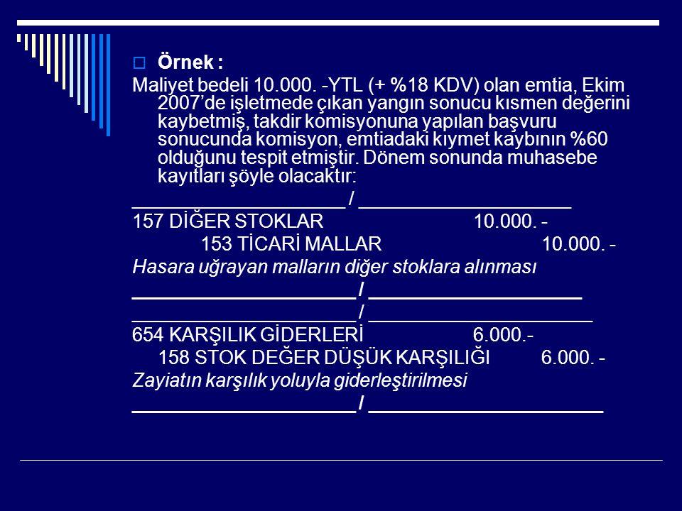  Örnek : Maliyet bedeli 10.000. -YTL (+ %18 KDV) olan emtia, Ekim 2007'de işletmede çıkan yangın sonucu kısmen değerini kaybetmiş, takdir komisyonuna