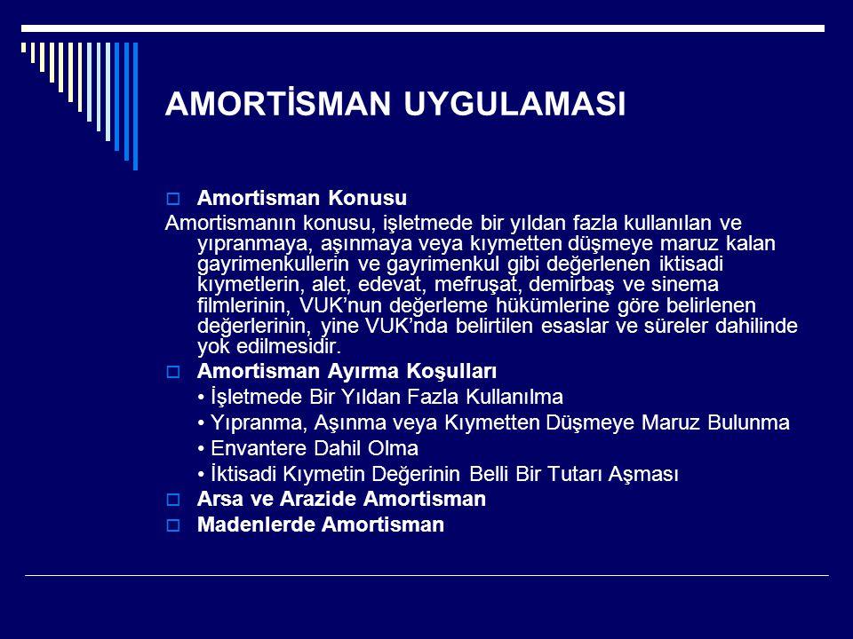 AMORTİSMAN UYGULAMASI  Amortisman Konusu Amortismanın konusu, işletmede bir yıldan fazla kullanılan ve yıpranmaya, aşınmaya veya kıymetten düşmeye ma