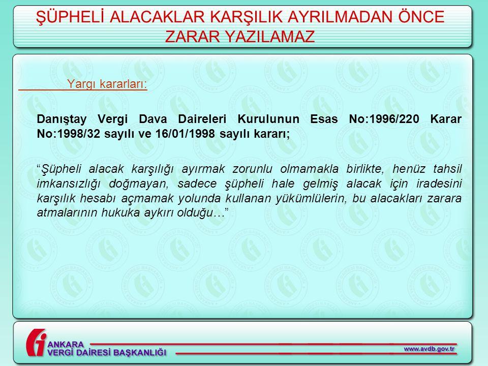 ŞÜPHELİ ALACAKLAR KARŞILIK AYRILMADAN ÖNCE ZARAR YAZILAMAZ Yargı kararları: Danıştay Vergi Dava Daireleri Kurulunun Esas No:1996/220 Karar No:1998/32