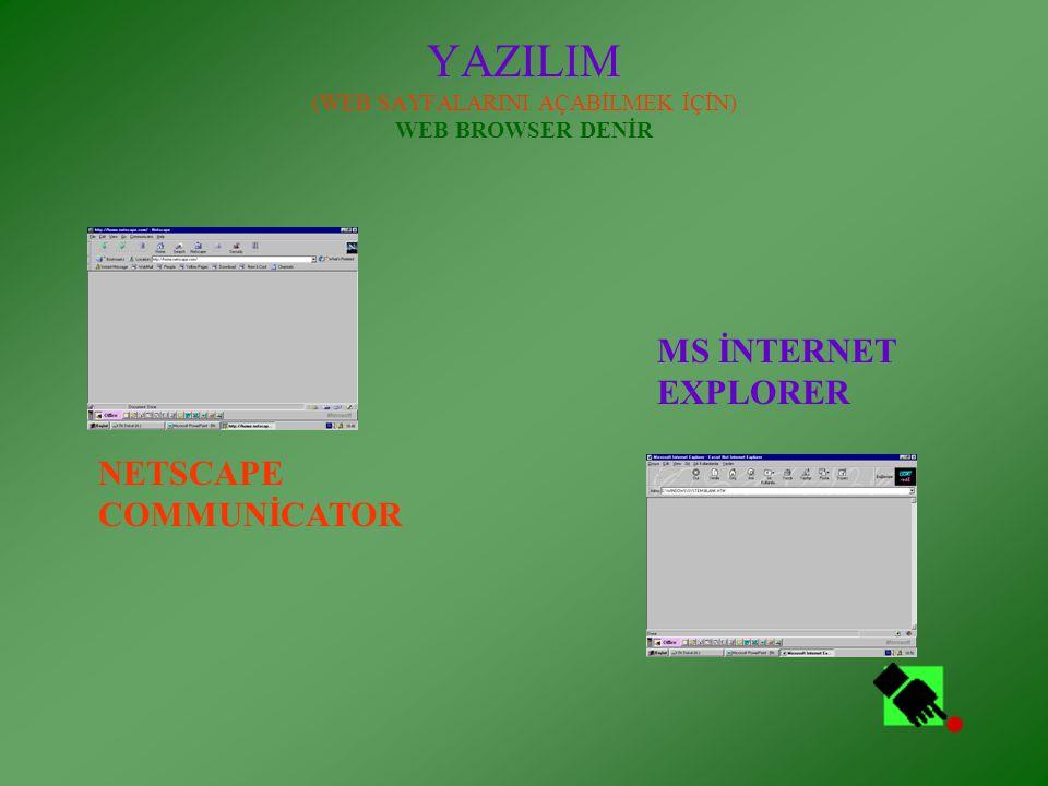 YAZILIM (WEB SAYFALARINI AÇABİLMEK İÇİN) WEB BROWSER DENİR NETSCAPE COMMUNİCATOR MS İNTERNET EXPLORER