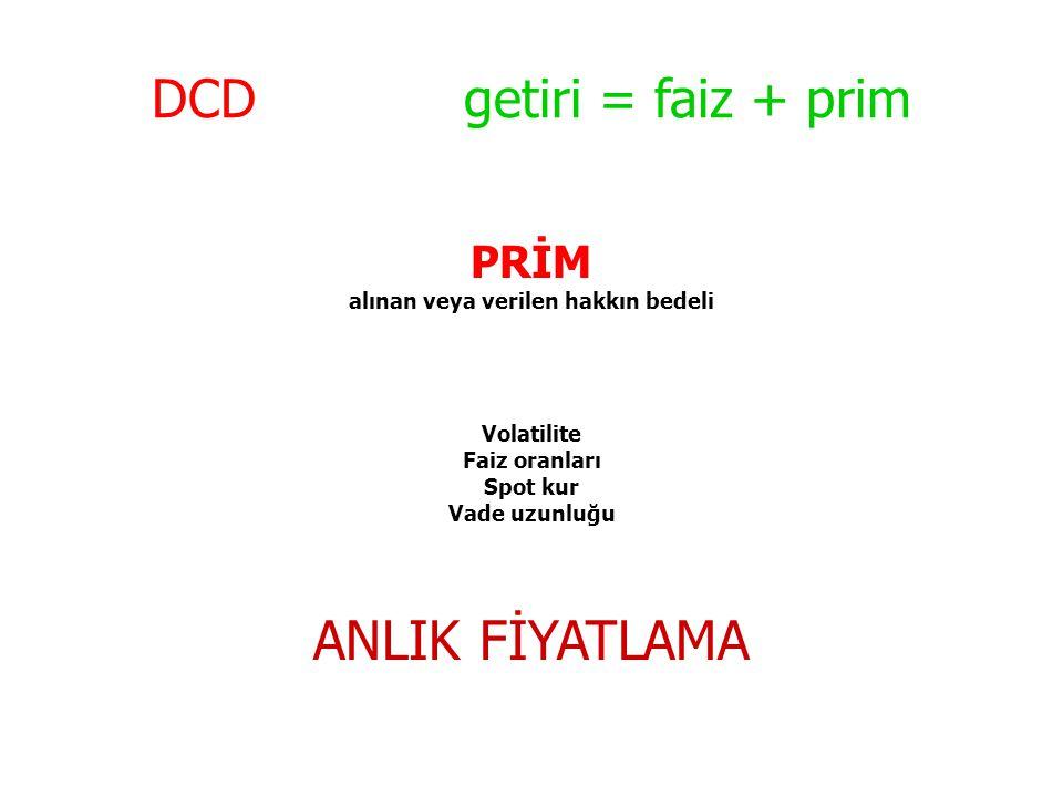 DCD getiri = faiz + prim PRİM alınan veya verilen hakkın bedeli Volatilite Faiz oranları Spot kur Vade uzunluğu ANLIK FİYATLAMA