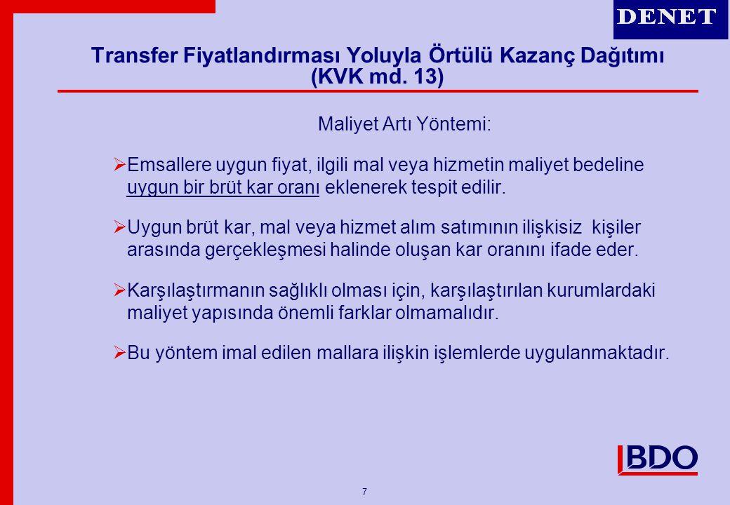 8 Transfer Fiyatlandırması Yoluyla Örtülü Kazanç Dağıtımı (KVK md.