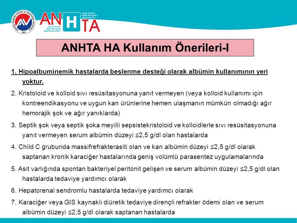 ANHTA HA Kullanım Önerileri-I 1. Hipoalbuminemik hastalarda beslenme desteği olarak albümin kullanımının yeri yoktur. 2. Kristoloid ve kolloid sıvı re