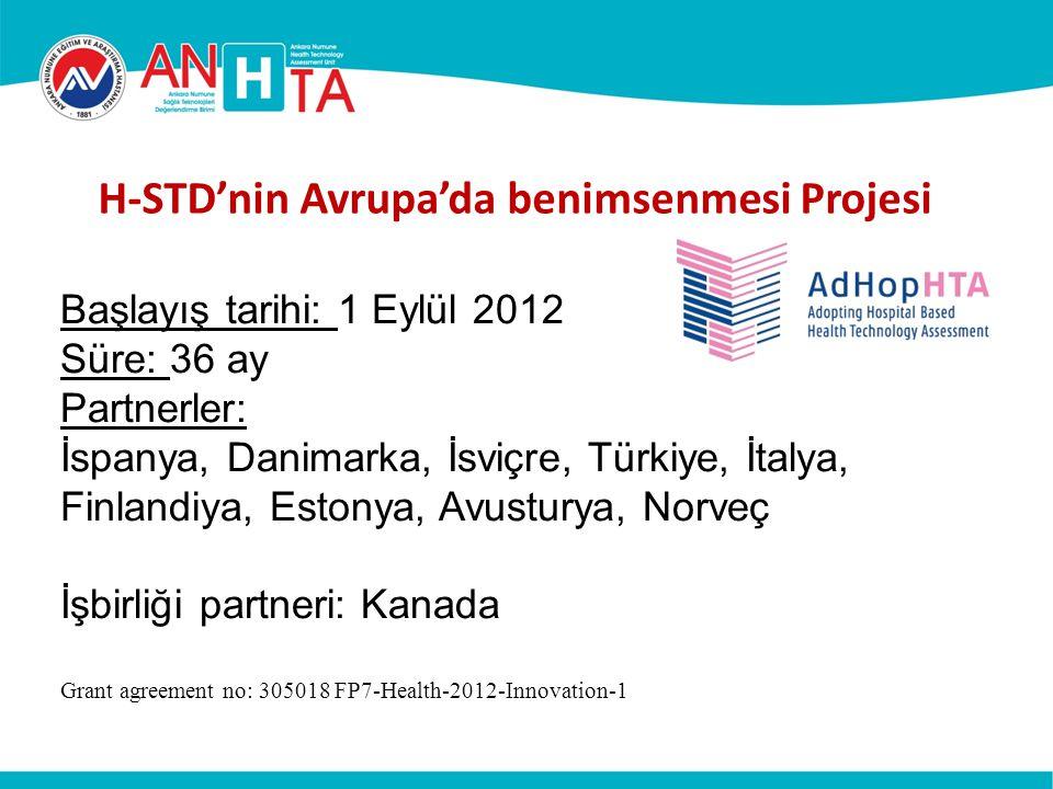 H-STD'nin Avrupa'da benimsenmesi Projesi Başlayış tarihi: 1 Eylül 2012 Süre: 36 ay Partnerler: İspanya, Danimarka, İsviçre, Türkiye, İtalya, Finlandiy