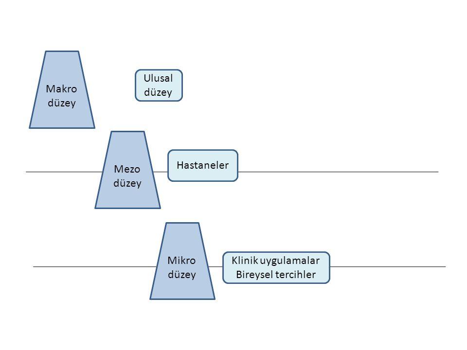 Makro düzey Ulusal düzey Mezo düzey Hastaneler Mikro düzey Klinik uygulamalar Bireysel tercihler