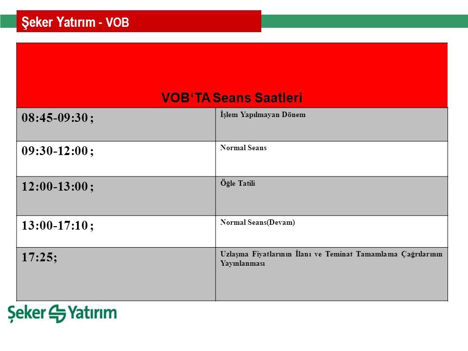 Rakamlarla Şeker Yatırım - VOB'TA Seans Saatleri 08:45-09:30 ; İşlem Yapılmayan Dönem 09:30-12:00 ; Normal Seans 12:00-13:00 ; Öğle Tatili 13:00-17:10 ; Normal Seans(Devam) 17:25; Uzlaşma Fiyatlarının İlanı ve Teminat Tamamlama Çağrılarının Yayınlanması Şeker Yatırım - VOB