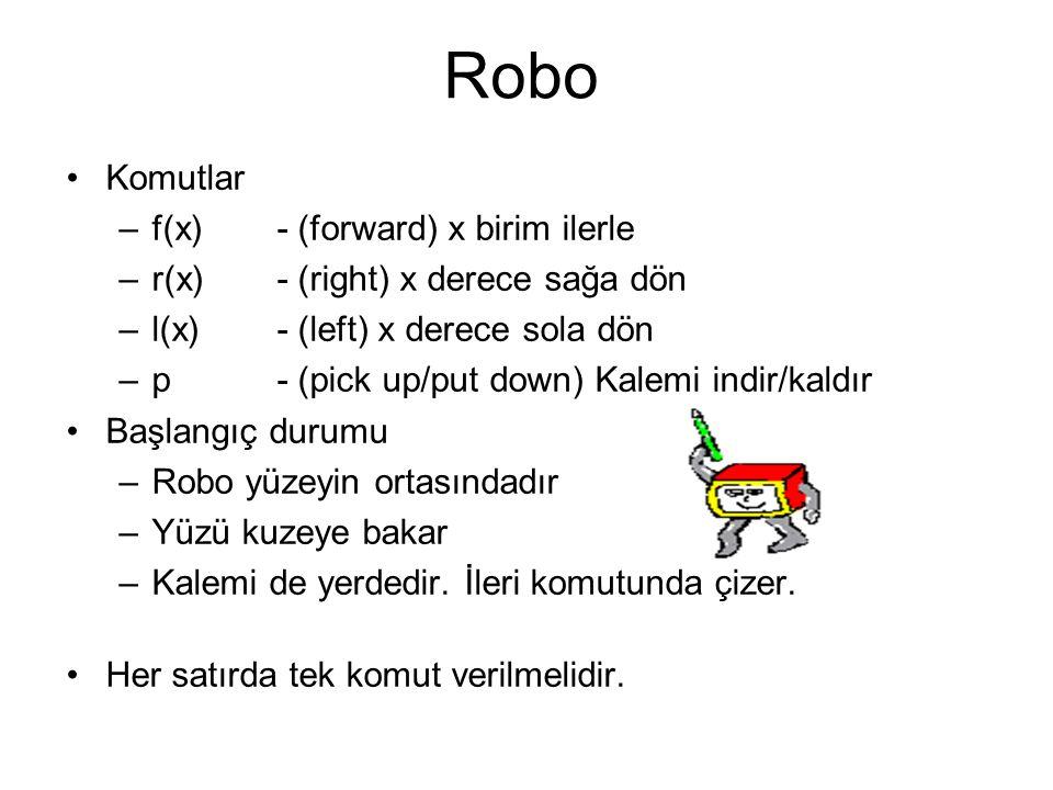 Robo Komutlar –f(x)- (forward) x birim ilerle –r(x) - (right) x derece sağa dön –l(x)- (left) x derece sola dön –p - (pick up/put down) Kalemi indir/k