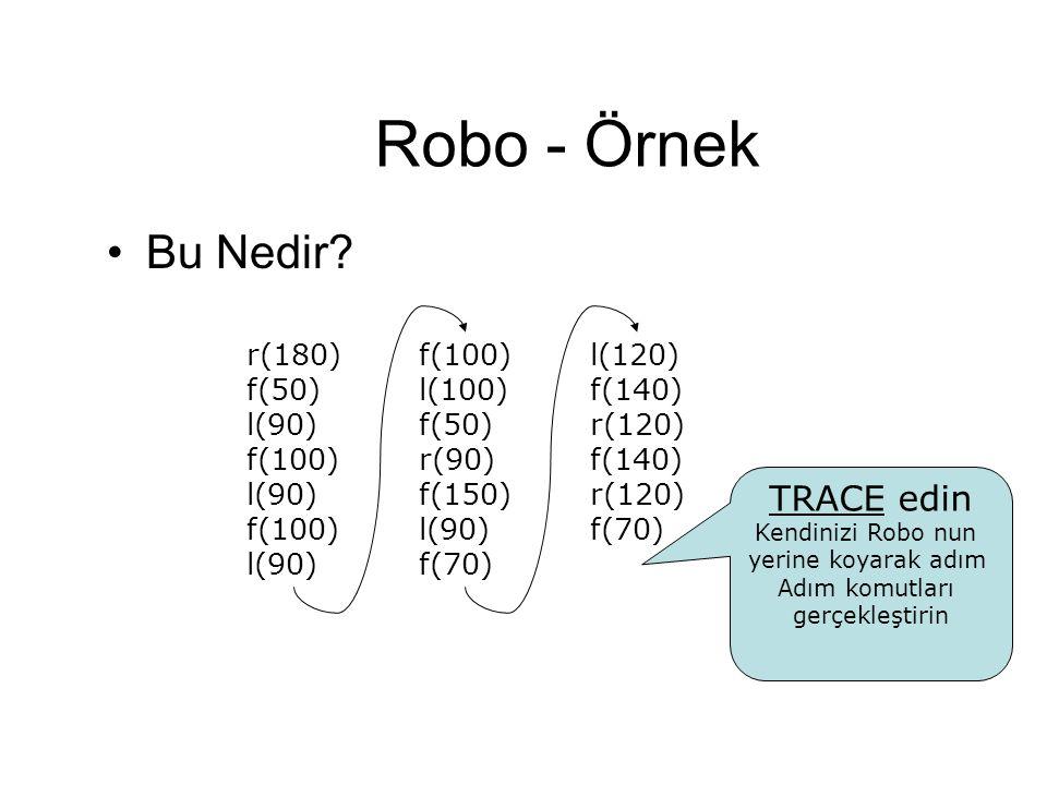 Robo - Örnek Bu Nedir? TRACE edin Kendinizi Robo nun yerine koyarak adım Adım komutları gerçekleştirin r(180) f(50) l(90) f(100) l(90) f(100) l(90) f(