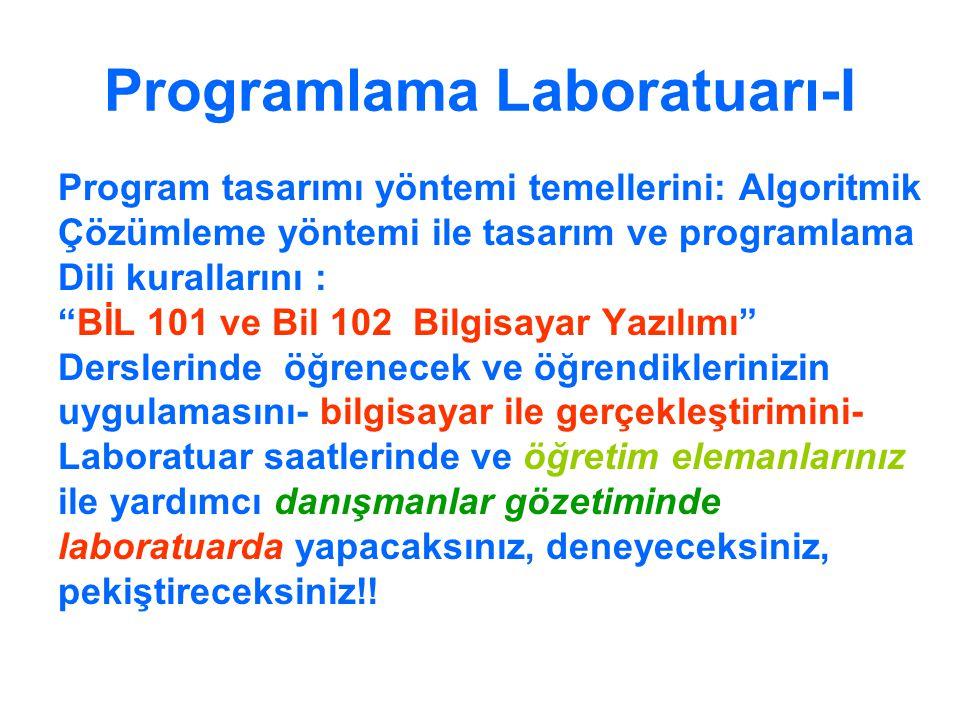 """Programlama Laboratuarı-I Program tasarımı yöntemi temellerini: Algoritmik Çözümleme yöntemi ile tasarım ve programlama Dili kurallarını : """"BİL 101 ve"""