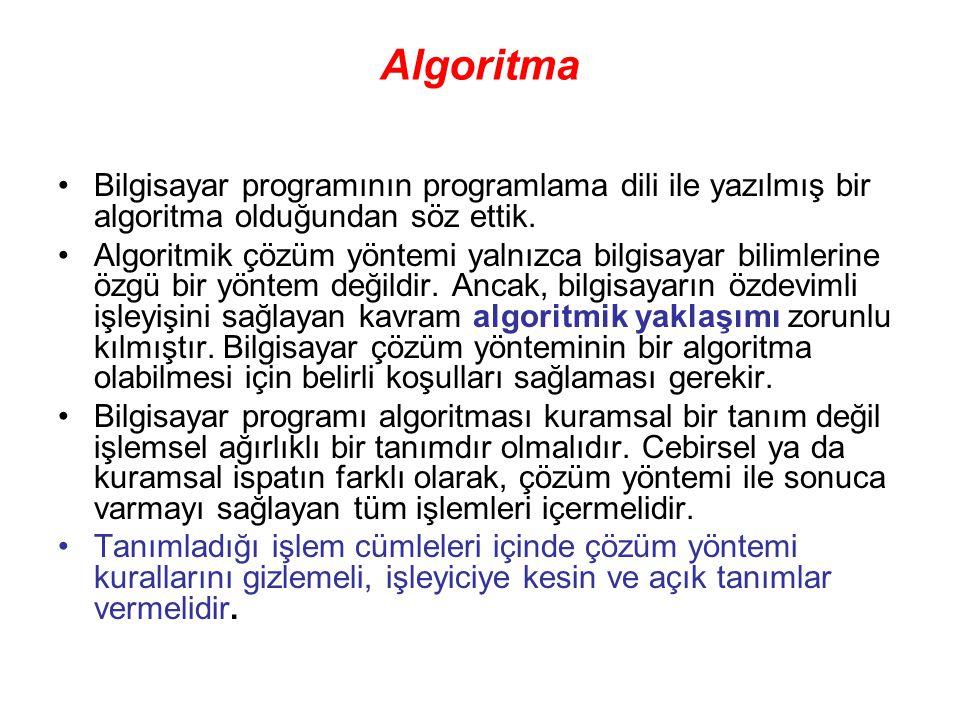 Algoritma Bilgisayar programının programlama dili ile yazılmış bir algoritma olduğundan söz ettik. Algoritmik çözüm yöntemi yalnızca bilgisayar biliml