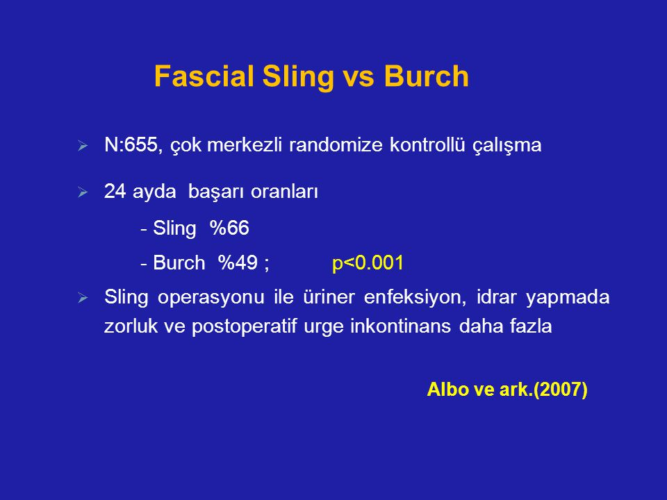 Fascial Sling vs Burch  N:655, çok merkezli randomize kontrollü çalışma  24 ayda başarı oranları - Sling %66 - Burch %49 ; p<0.001  Sling operasyon
