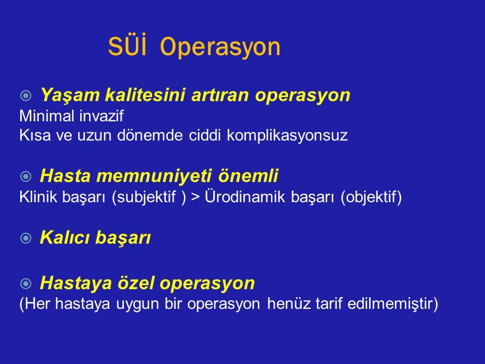 SÜİ Operasyon  Yaşam kalitesini artıran operasyon Minimal invazif Kısa ve uzun dönemde ciddi komplikasyonsuz  Hasta memnuniyeti önemli Klinik başarı