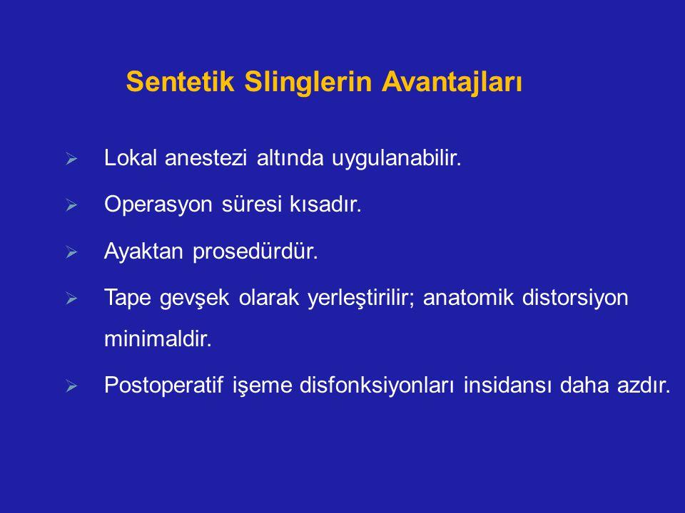 Sentetik Slinglerin Avantajları  Lokal anestezi altında uygulanabilir.  Operasyon süresi kısadır.  Ayaktan prosedürdür.  Tape gevşek olarak yerleş