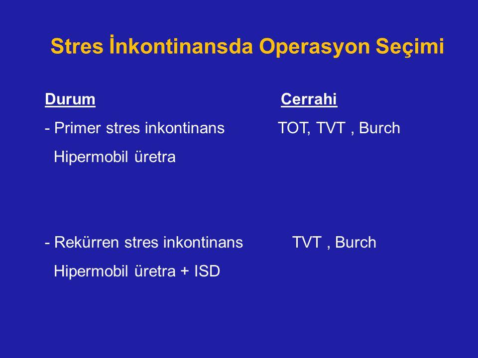 Stres İnkontinansda Operasyon Seçimi Durum Cerrahi - Primer stres inkontinans TOT, TVT, Burch Hipermobil üretra - Rekürren stres inkontinans TVT, Burc