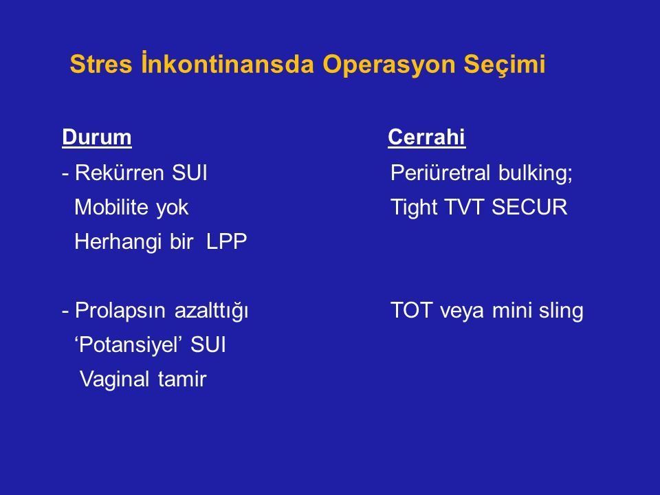 Stres İnkontinansda Operasyon Seçimi Durum Cerrahi - Rekürren SUI Periüretral bulking; Mobilite yok Tight TVT SECUR Herhangi bir LPP - Prolapsın azalt