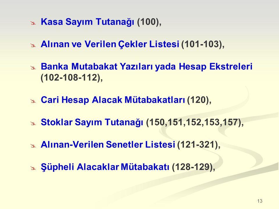 13  Kasa Sayım Tutanağı (100),  Alınan ve Verilen Çekler Listesi (101-103),  Banka Mutabakat Yazıları yada Hesap Ekstreleri (102-108-112),  Cari Hesap Alacak Mütabakatları (120),  Stoklar Sayım Tutanağı (150,151,152,153,157),  Alınan-Verilen Senetler Listesi (121-321),  Şüpheli Alacaklar Mütabakatı (128-129),