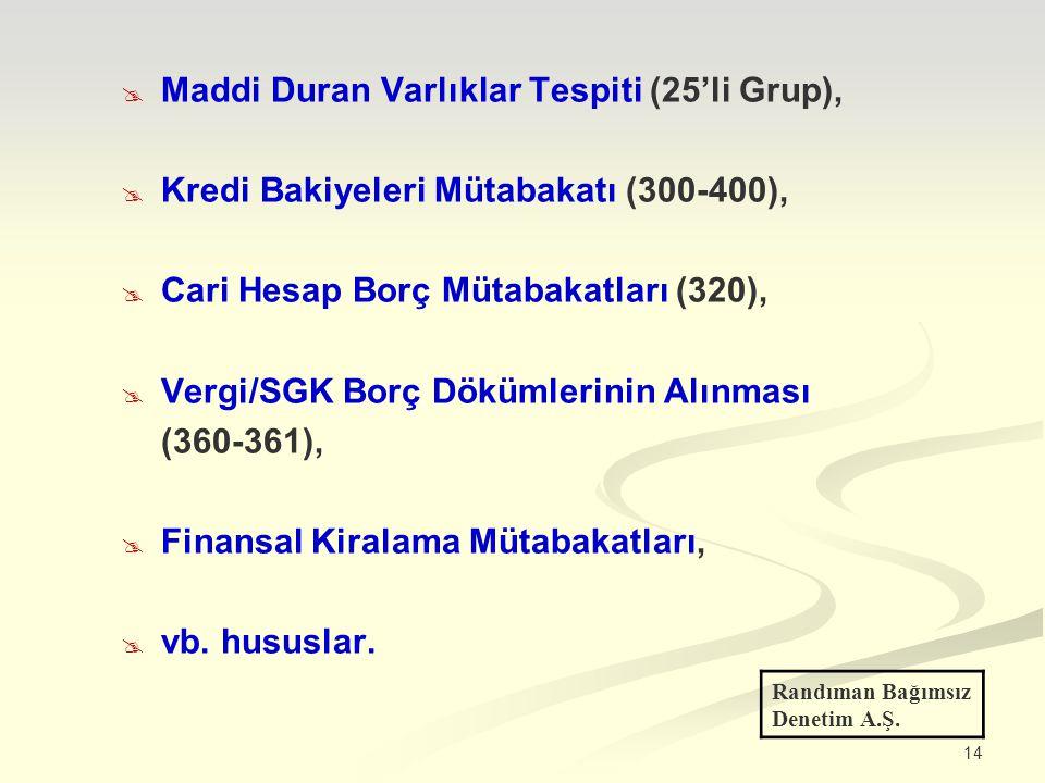 14  Maddi Duran Varlıklar Tespiti (25'li Grup),  Kredi Bakiyeleri Mütabakatı (300-400),  Cari Hesap Borç Mütabakatları (320),  Vergi/SGK Borç Dökümlerinin Alınması (360-361),  Finansal Kiralama Mütabakatları,  vb.