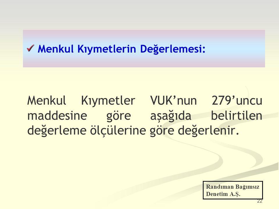 22 Menkul Kıymetlerin Değerlemesi: Menkul Kıymetler VUK'nun 279'uncu maddesine göre aşağıda belirtilen değerleme ölçülerine göre değerlenir. Randıman