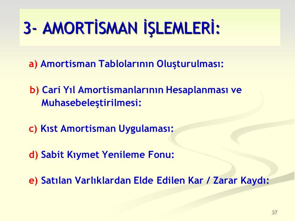 37 3- AMORTİSMAN İŞLEMLERİ: a) Amortisman Tablolarının Oluşturulması: b) Cari Yıl Amortismanlarının Hesaplanması ve Muhasebeleştirilmesi: c) Kıst Amor